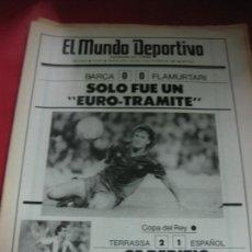 Coleccionismo deportivo: EL MUNDO DEPORTIVO Nº 19837. EURO-TRAMITE. 0-0 BARÇA-FLAMURTARI.. 2 OCTUBRE 1986. Lote 205807091