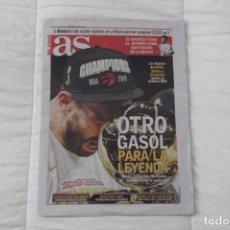 Coleccionismo deportivo: DIARIO AS 15/06/2019 OTRO GASOL PARA LA LEYENDA. MARC GASOL GANA SU PRIMER ANILLO NBA BALONCESTO.. Lote 169316348