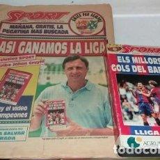 Coleccionismo deportivo: DIARIO SPORT BARCA CAMPEON DE LA LIGA 1993 CON SU VHS. Lote 170212240