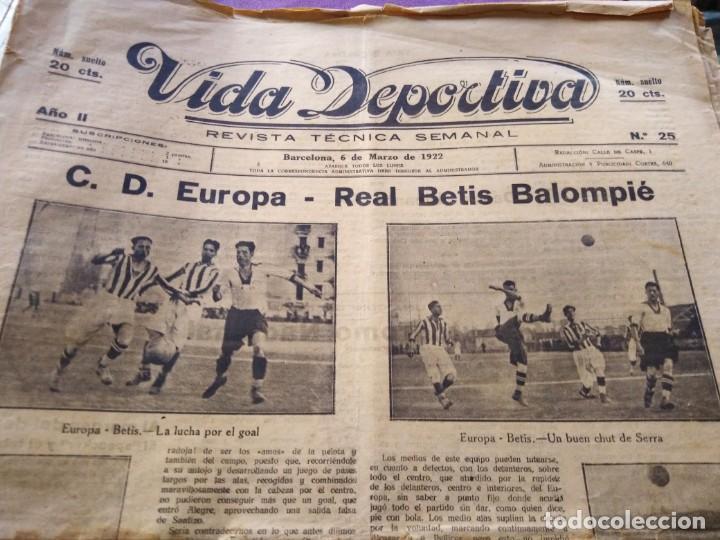 VIDA DEPORTIVA 1922 N 25 C. D. EUROPA REAL BETIS BALOMPIE ESPAÑA MARTINENC (Coleccionismo Deportivo - Revistas y Periódicos - Vida Deportiva)