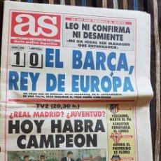 Coleccionismo deportivo: PERIODICO AS 21 MAYO 1992 EL BARCA REY DE EUROPA. Lote 171185813