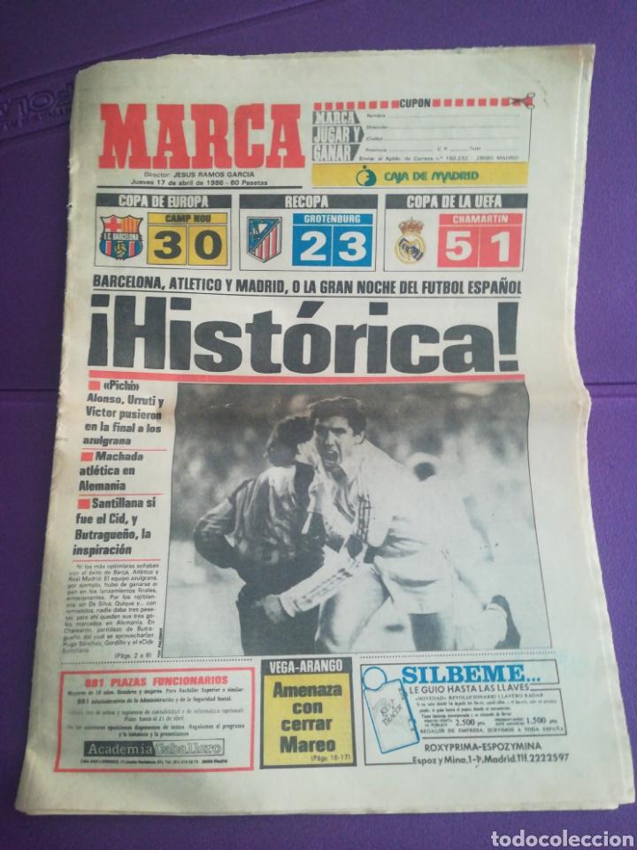 DIARIO MARCA HISTÓRICA 17 ABRIL 1986 REAL MADRID INTER (Coleccionismo Deportivo - Revistas y Periódicos - Marca)
