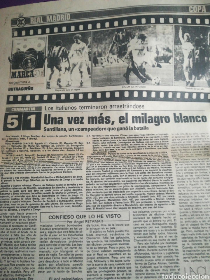 Coleccionismo deportivo: Diario Marca Histórica 17 abril 1986 Real Madrid Inter - Foto 3 - 171497145