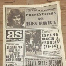 Coleccionismo deportivo: AS (11-9-1971) PRESENTACION BECERRA ATLETICO MADRID FUSTE SABADELL COMAS REAL MADRID BURGOS BENITO. Lote 253726195