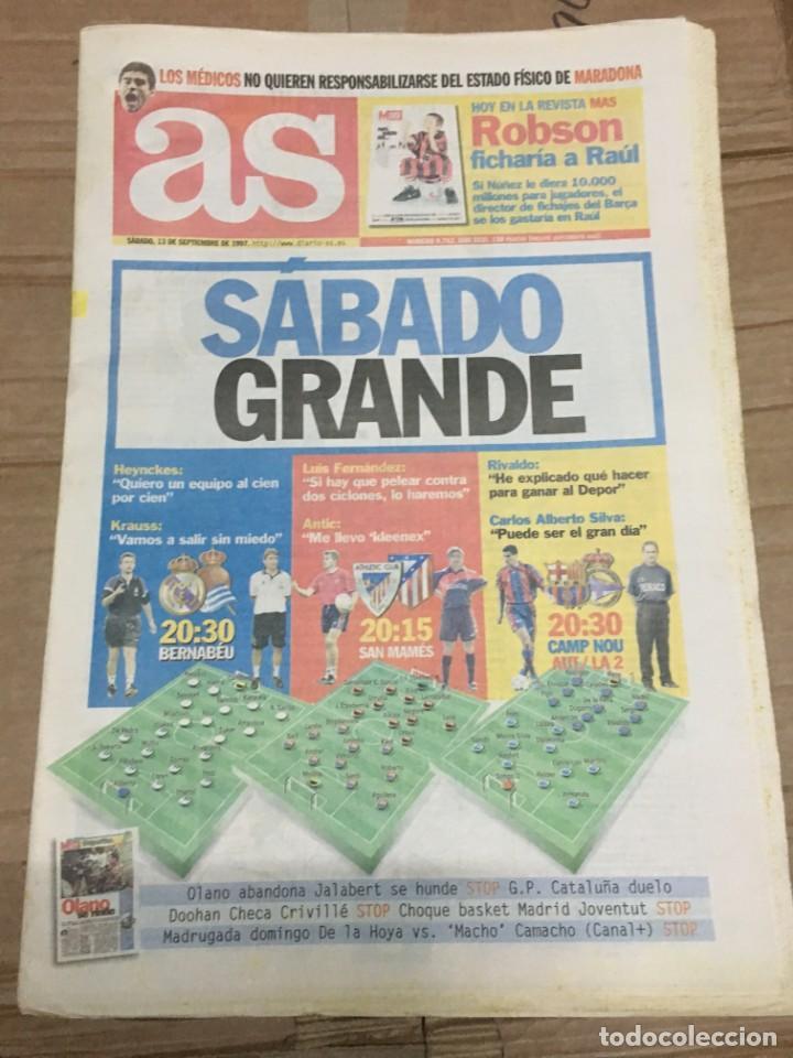 AS (13-9-1997) REAL MADRID REAL SOCIEDAD ATHLETIC ATLETICO MADRID BARCELONA DEPORTIVO RIVALDO (Coleccionismo Deportivo - Revistas y Periódicos - As)