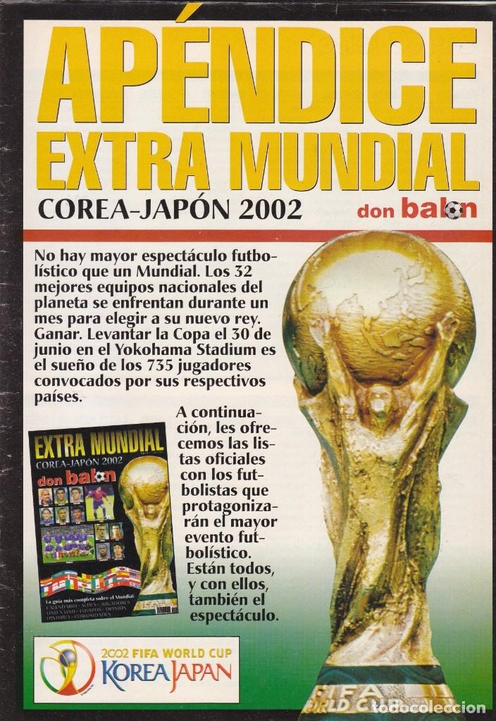 Coleccionismo deportivo: EXTRA DON BALON MUNDIAL COREA-JAPON 2002.CONTIENE APENDICE - Foto 2 - 172397209