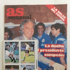 Coleccionismo deportivo: REVISTA AS SEMANAL N° 73 AÑO 1987 - CON LAS 8 PEGATINAS - REAL MADRID MENDOZA - ATLETISMO - RENAULT. Lote 173232018
