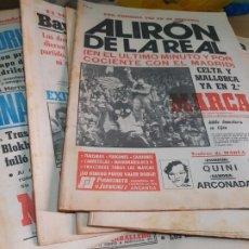 Coleccionismo deportivo: LOTAZO 65 PERIÓDICOS MARCA AÑOS 80 ALGUNO HISTÓRICO Y MUY BUSCADO COMO ALIRON DE LA REAL. Lote 173436524