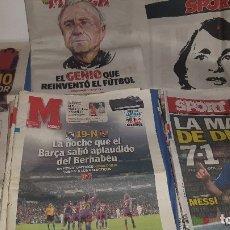 Coleccionismo deportivo: COLECCIÓN PERIÓDICOS SPORT Y MARCA CON LAS VICTORIAS F.C. BARCELONA, MUERTE JOHAN CRUYFF.... Lote 173477797
