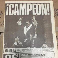 Coleccionismo deportivo: AS (30/1/1970) BOXEO VELAZQUEZ CAMPEON EUROPA BUCHANAN. Lote 174111387