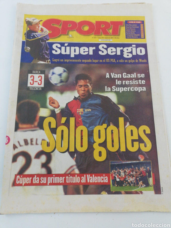 DIARIO SPORT AGOSTO 1999 FINAL SUPERCOPA DE ESPAÑA FC BARCELONA VALENCIA CF CAMPEON FUTBOL BARÇA. (Coleccionismo Deportivo - Revistas y Periódicos - Sport)
