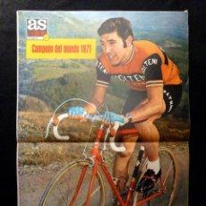 Coleccionismo deportivo: AS COLOR. Nº 27, 1971. POSTER EDDY MERCKX. TROPEZON ANTE EL COLISTA, GENTO SUEÑA ENTRENAR AL MADRID.. Lote 178041997