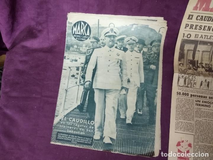 1943, LOTE DE DOS PERIODICOS DEPORTIVOS, UNO CON FRANCO EN PORTADA, MARCA (Coleccionismo Deportivo - Revistas y Periódicos - Marca)