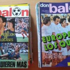 Coleccionismo deportivo: 100 REVISTAS DON BALÓN DIFERENTES DEL 31 AL 169 PROCEDEN DE ENCUADERNACION. Lote 180177277
