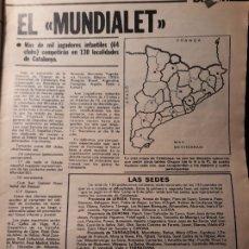 Coleccionismo deportivo: EL MUNDIALET - ORGANIZADO POR LA GENERALITAT DE CATALUNYA - TORNEO INFANTIL - AÑO 1982 - HOJA. Lote 180227692