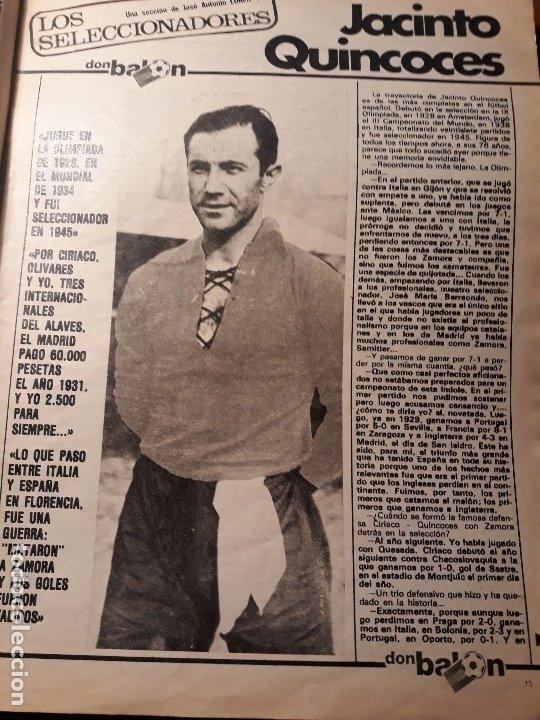 ENTREVISTA A JACINTO QUINCOCES - AÑO 1982 - 4 PAGINAS (Coleccionismo Deportivo - Revistas y Periódicos - Don Balón)