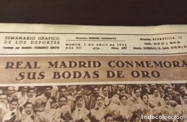 Coleccionismo deportivo: Bodas de oro del Real Madrid 1952 antigua revista marca fútbol - Foto 5 - 180993322