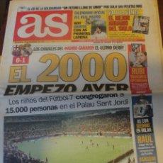 Coleccionismo deportivo: AS 29 DICIEMBRE 1999 - FUTBOL 7 PIQUE GRANERO NIÑOS EN EL ULRIMO DERBY DEL SIGLO - RUBI ATLETICO. Lote 182021885