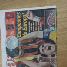 Coleccionismo deportivo: DIARIO AS 2 DE JULIO 2012 .PORTADA HISTÓRICA EURO'12. Lote 182124756