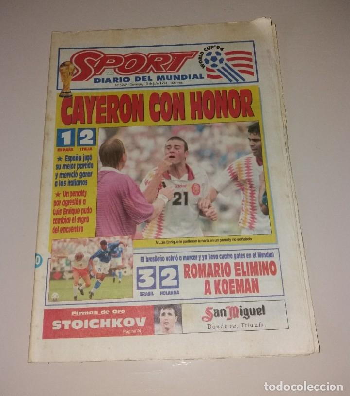 PERIÓDICO SPORT. MUNDIAL USA 1994, ESPAÑA VS ITALIA, CODAZO A LUIS ENRIQUE DE TASSOTTI (Coleccionismo Deportivo - Revistas y Periódicos - Sport)