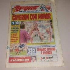 Coleccionismo deportivo: PERIÓDICO SPORT. MUNDIAL USA 1994, ESPAÑA VS ITALIA, CODAZO A LUIS ENRIQUE DE TASSOTTI. Lote 202038032
