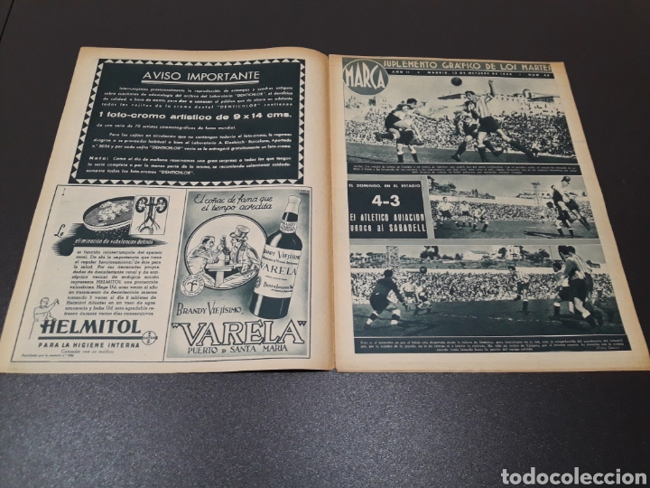 Coleccionismo deportivo: MARCA. N° 46. 12/10/1943. - Foto 2 - 183771475