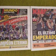 Coleccionismo deportivo: PERIÓDICOS MUNDO DEPORTIVO Y MARCA. FINAL COPA DEL REY FC BARCELONA 5 SEVILLA 0. BARÇA CAMPEÓN. Lote 183960687