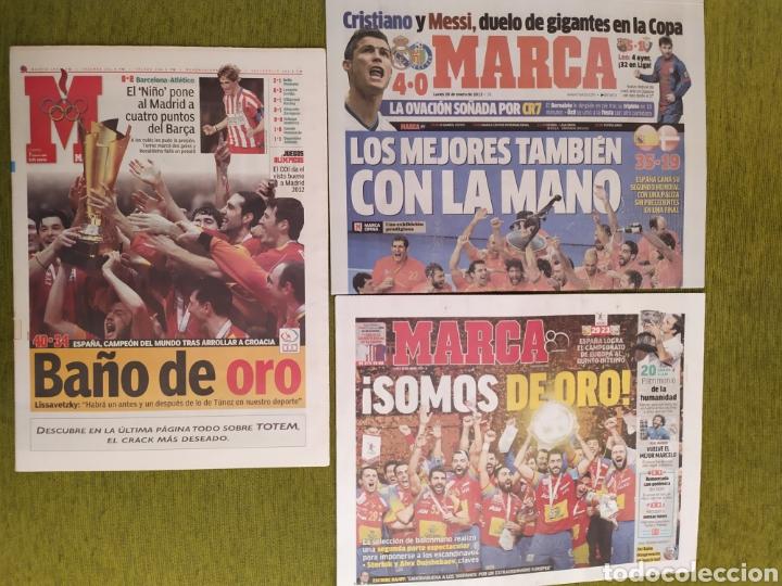 LOTE 3 PERIÓDICOS MARCA. ESPAÑA CAMPEONA DEL MUNDO BALONMANO 2005 Y 2013. CAMPEONA DE EUROPA 2018 (Coleccionismo Deportivo - Revistas y Periódicos - Marca)