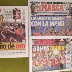 Coleccionismo deportivo: LOTE 3 PERIÓDICOS MARCA. ESPAÑA CAMPEONA DEL MUNDO BALONMANO 2005 Y 2013. CAMPEONA DE EUROPA 2018. Lote 183961196