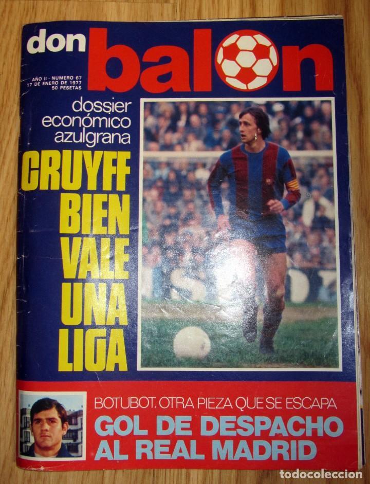 REVISTA DON BALON 1977 Nº 67 POSTER 8 PAGINAS FC BARCELONA CAMPEON INVIERNO CRUYFF (Coleccionismo Deportivo - Revistas y Periódicos - Don Balón)