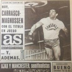 Coleccionismo deportivo: AS 6/3/1969 COPA EUROPA MANCHESTER RAPID VIENA AJAX BENFICA LEEDS UJPEST. Lote 186289623