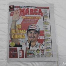 Coleccionismo deportivo: DIARIO MARCA 15/11/2019. JORGE LORENZO SE RETIRA. MOTO GP.. Lote 186329021