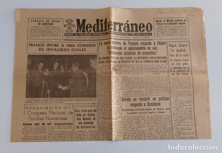 MEDITERRANEO DIARIO DE FALANGE ESPAÑOLA TRADICIONALISTA Y DE LAS JONS. CASTELLÓN DE LA PLANA 1956. W (Coleccionismo Deportivo - Revistas y Periódicos - Mundo Deportivo)