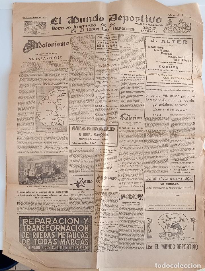 Coleccionismo deportivo: EL MUNDO DEPORTIVO. EDICION DE LA NOCHE. ENERO 1933. W - Foto 2 - 188502271