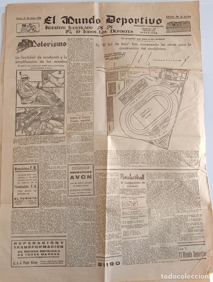 Coleccionismo deportivo: EL MUNDO DEPORTIVO. EDICION DE LA NOCHE. 21 MARZO 1932. W - Foto 2 - 188502397