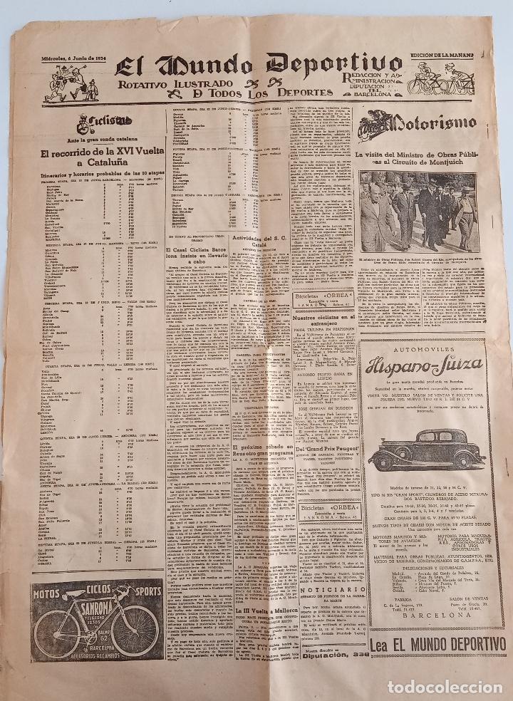 Coleccionismo deportivo: EL MUNDO DEPORTIVO. EDICION DE LA MAÑANA. 6 JUNIO 1934. W - Foto 2 - 188502860