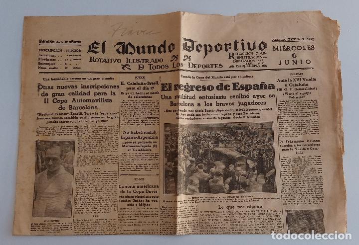 EL MUNDO DEPORTIVO. EDICION DE LA MAÑANA. 6 JUNIO 1934. W (Coleccionismo Deportivo - Revistas y Periódicos - Mundo Deportivo)