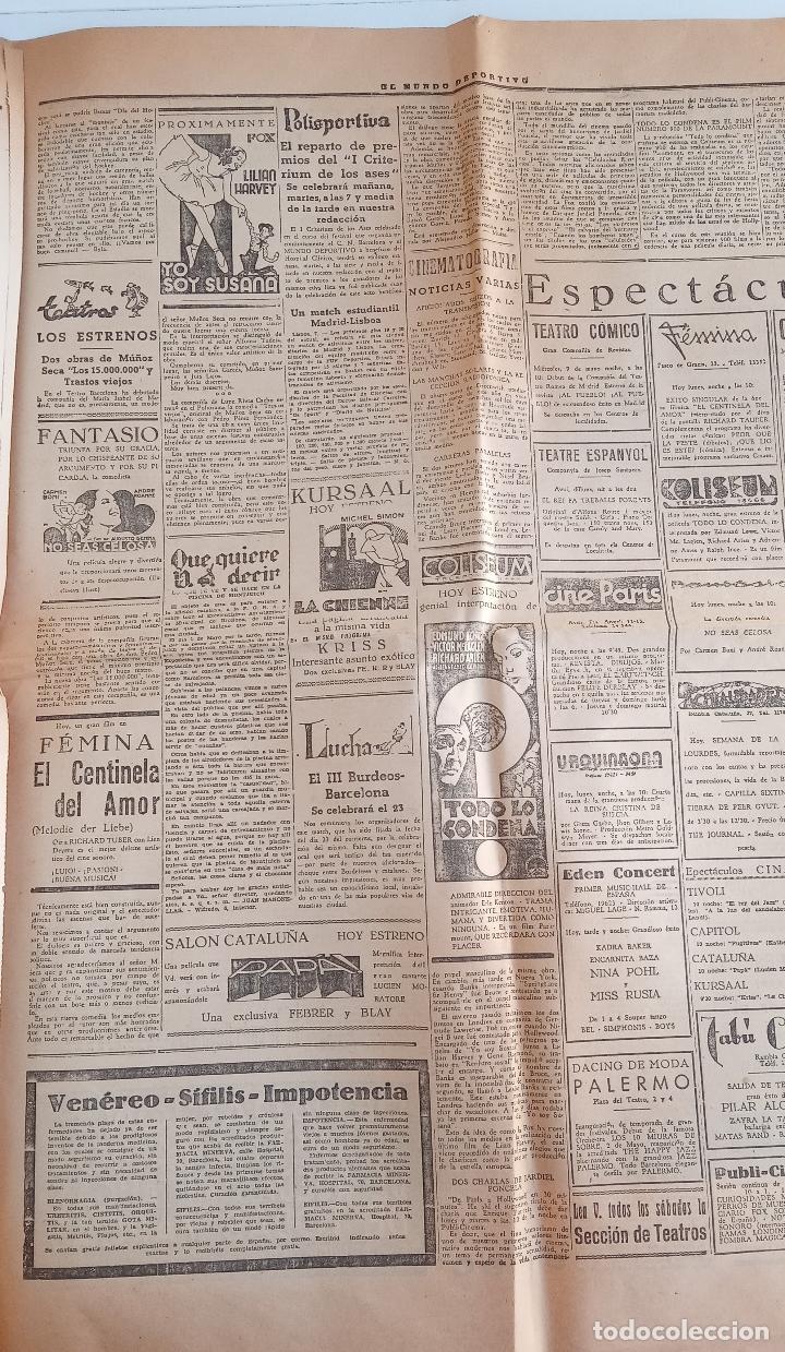 Coleccionismo deportivo: EL MUNDO DEPORTIVO. EDICION DE LA NOCHE. 7 MAYO 1934. EL MADRID CONSIGUIO EL TITULO Y COPA ESPAÑA. W - Foto 2 - 188503025