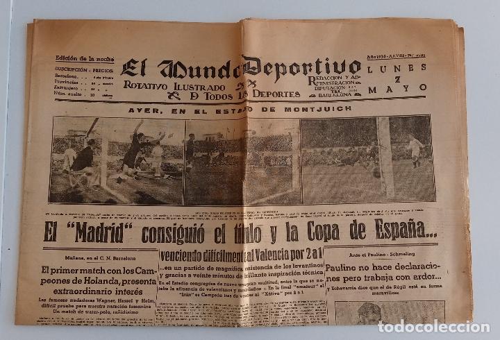 EL MUNDO DEPORTIVO. EDICION DE LA NOCHE. 7 MAYO 1934. EL MADRID CONSIGUIO EL TITULO Y COPA ESPAÑA. W (Coleccionismo Deportivo - Revistas y Periódicos - Mundo Deportivo)