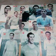 Coleccionismo deportivo: LOTE 13 LÁMINAS REAL MADRID AÑOS 40 MARCA - VER FOTOS. Lote 190086668