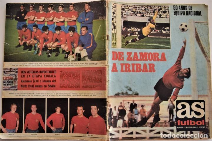 Coleccionismo deportivo: DE ZAMORA A IRIBAR - AS FÚTBOL, NÚMERO EXTRAORDINARIO 50 AÑOS DE EQUIPO NACIONAL - Foto 2 - 190616587