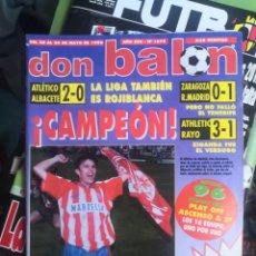 Coleccionismo deportivo: DON BALÓN N°1075,MAYO 1996, EXTRA ¡CAMPEÓN! ATLÉTICO DE MADRID, AT. CON PÓSTER EN INTERIOR INTACTO.. Lote 190844876