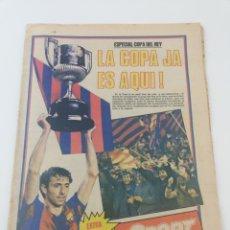 Coleccionismo deportivo: FC BARCELONA SPORTING GIJON EXTRA FINAL COPA DEL REY 80-81 DIARIO SPORT 571 POSTER BARÇA CAMPEON. Lote 191185342