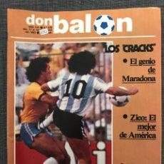 Coleccionismo deportivo: FÚTBOL DON BALÓN 379 - MARADONA - ZICO - ATHLETIC - CROMOS ZARAGOZA - PEÑAROL - VALÈNCIA - ESPANYOL. Lote 191332706
