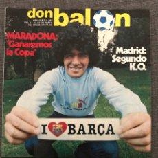 Coleccionismo deportivo: FÚTBOL DON BALÓN 397 - MARADONA - MURCIA - ESPAÑA - FINAL RECOPA MADRID - LAURIDSEN ESPANYOL. Lote 191338220