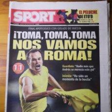 Coleccionismo deportivo: DIARIO SPORT N°10638 : 7 DE MAYO DE 2009 (EN PORTADA, ANDRÉS INIESTA). Lote 191545187
