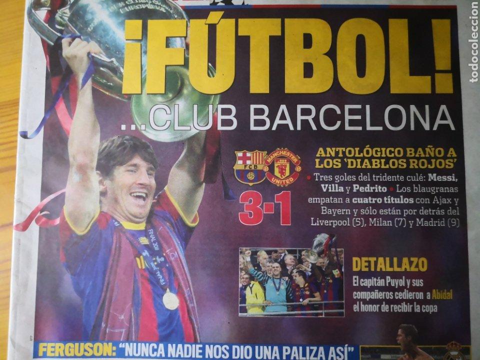 Coleccionismo deportivo: Diario Marca - 29 de mayo de 2011: FC Barcelona. Messi en portada levantando la Cuarta Champions - Foto 2 - 191545301