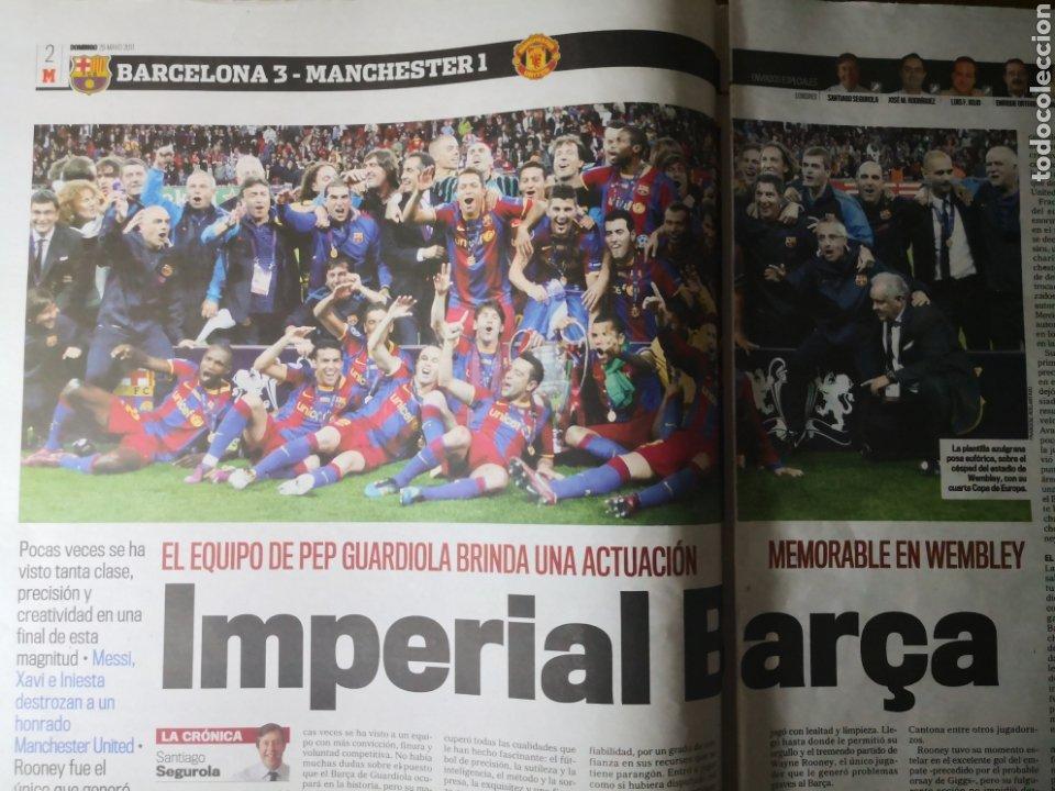 Coleccionismo deportivo: Diario Marca - 29 de mayo de 2011: FC Barcelona. Messi en portada levantando la Cuarta Champions - Foto 4 - 191545301