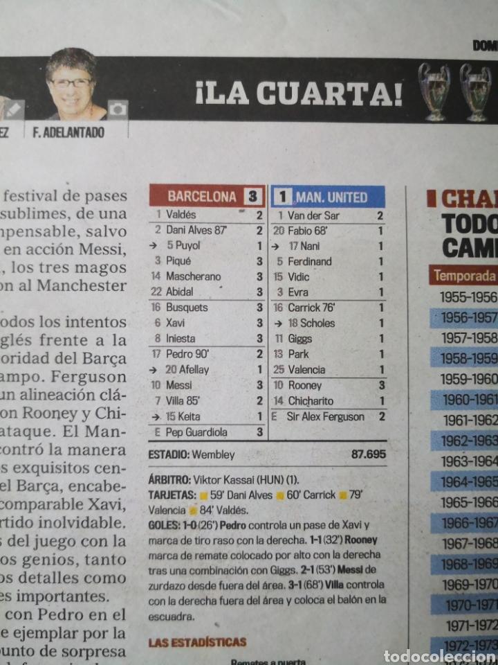 Coleccionismo deportivo: Diario Marca - 29 de mayo de 2011: FC Barcelona. Messi en portada levantando la Cuarta Champions - Foto 5 - 191545301