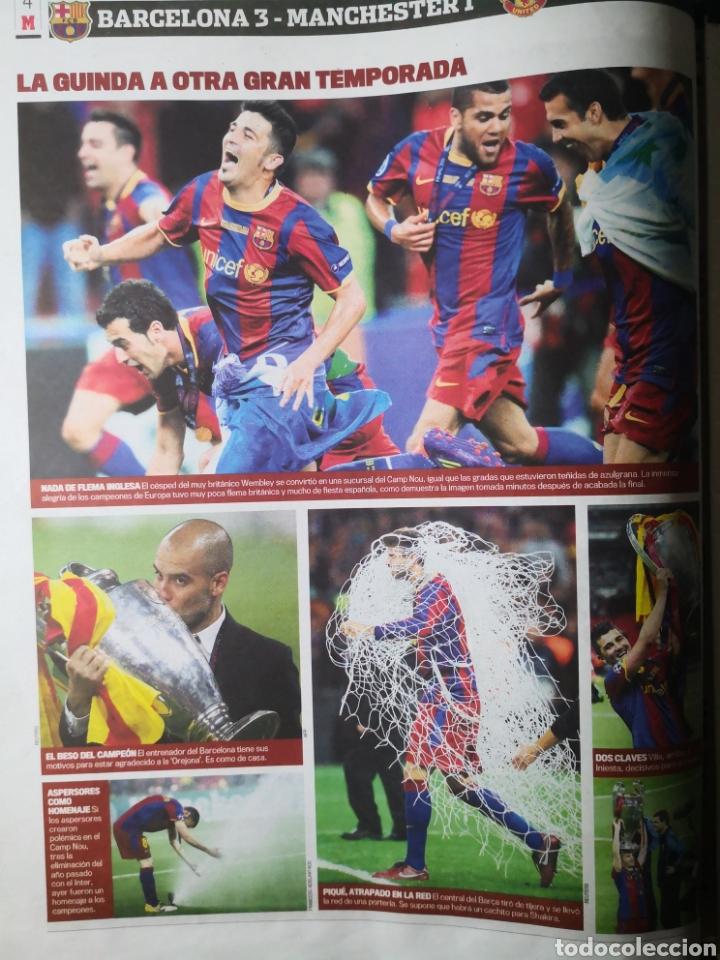 Coleccionismo deportivo: Diario Marca - 29 de mayo de 2011: FC Barcelona. Messi en portada levantando la Cuarta Champions - Foto 6 - 191545301